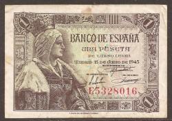 1 Peseta 1945 Isabel La Católica. MBC+