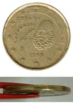 España 1999 20 Céntimos Canto liso, menor grosor MBC+