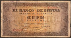 100 Pesetas 1938 Burgos. Casa del Cordón BC+
