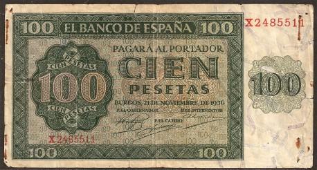 100 Pesetas 1936 Burgos Catedral MBC
