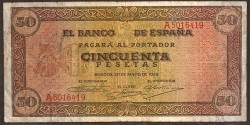 50 Ptas 1938 Castillo de Olite BC+