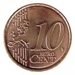 España 2010 10 Céntimos Baño de cobre en reverso S/C