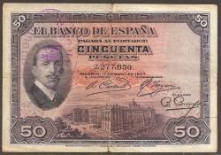 50 Ptas 1927 Alfonso XIII MBC- Resello República
