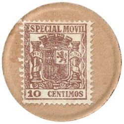 10 Céntimos 2ª República Sello moneda Especial Móvil sobre cartón 1938 S/C-