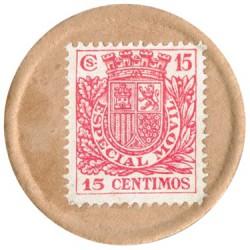 15 Céntimos 2ª República Sello moneda Especial Móvil sobre cartón 1938 S/C-