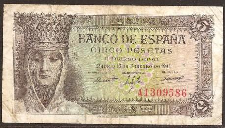 5 Ptas 1943 Isabel La Católica. MBC