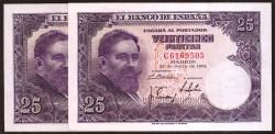 25 Pesetas 1954 Isaac Albéniz Pareja S/C