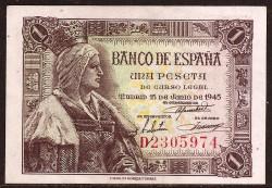 1 Peseta 1945 Isabel La Católica. EBC