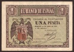 1 Peseta 1938 Burgos. Águila. EBC-