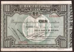100 Ptas Bilbao. Resello 1937. MBC+