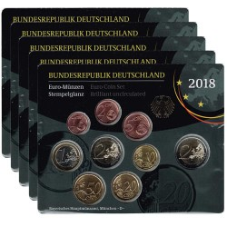 Germany 2018 5 Official Coin Sets (A-J) BU