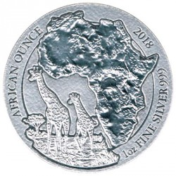 Rwanda 2018 50 Mirongo 1 Silver Ounce (Map of Africa) PROOF
