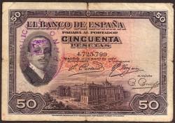 50 Ptas 1927 Alfonso XIII BC- Resello República