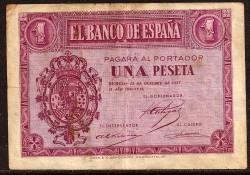 1 Peseta 1937 Burgos. BC+