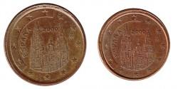 España 2000 2 y 5 Céntimos Acuñación Desplazada MBC+