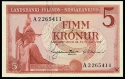 Islandia 5 Coronas Pk 37b (21-6-1.957) S/C