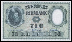 Suecia 10 Coronas PK 43f (1.958) S/C