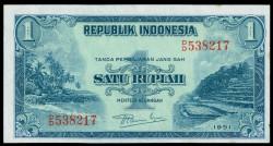 Indonesia 1 Rupia PK 38 (1.951) (Manchas) EBC+