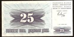 Bosnia-Herzegovina 25 Dinares PK 11 (1-7-1.992) S/C