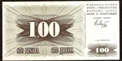 Bosnia-Herzegovina 100 Dinares PK 13 (1-7-1.992) S/C