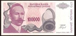 Bosnia-Herzegovina 100.000 Dinares PK 151 (1.993) S/C