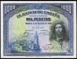 1000 Ptas 1928 San Fernando. MBC+