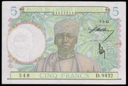 África Occidental Francesa 5 Francos PK 25 (6-5-1942) S/C-