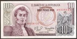 Colombia 10 Pesos oro PK 407h (7-8-1.980) S/C