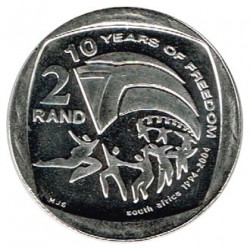 Sudáfrica 2004 2 Rand (10 Años de Libertad) S/C