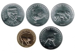 Somaliland 2002- 2005 5 coins (5,5,5, 10 and 20 Shillings) UNC