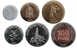 Rwanda 2003 - 2011 6 coins (1,5,10,20,50 and 100 Francs) UNC
