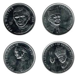 """Congo 2004 4 coins """"John Paul II"""" (4 of 1 Franc) UNC"""