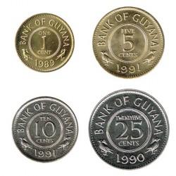 Guyana 1989 - 1991 4 valores (1,5,10 y 25 cent.) S/C