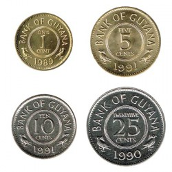 Guyana 1989- 1991 4 Coins (1,5,10 and 25 cent.) UNC