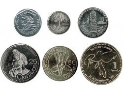 Guatemala 1996 - 2008 6 Coins (1,5,10,25 and 50 Cents. 1 Quetzal) UNC