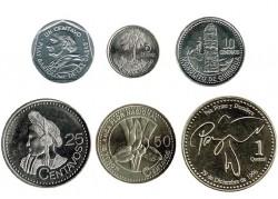 Guatemala 2000 - 2008 6 valores (1,5,10,25 y 50 Centavos. 1 Quetzal) S/C