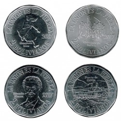 Bolivia 2017 4 Bolivianos coins (War of the Pacific) UNC