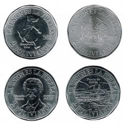 Bolivia 2017 4 monedas de 2 Bolivianos (Guerra del Pacífico) S/C