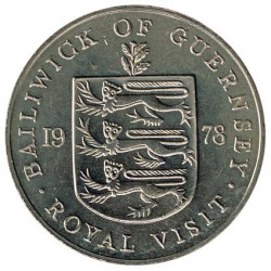 Guernsey 1978 25 Pence Royal Visit KM 32 aUNC