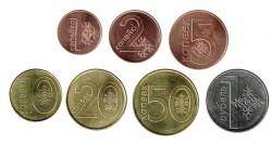 Belarus 2009 7 coins (1,2,5,10,20,50 Kapeek & 1 Rouble) UNC