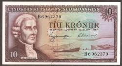 Islandia 10 Coronas PK 38b (21-6-1.957) EBC