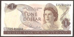 New Zealand 1 Dollar Pick 163d (1977-81) XF+
