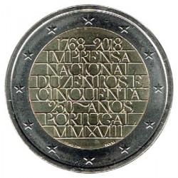 ABONO Portugal 2018 2 Euros 250 Años de la Oficina Nacional de Imprenta