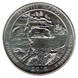 Estados Unidos (Parques) 2018 1/4 Dólar D (Apostle Islands) S/C