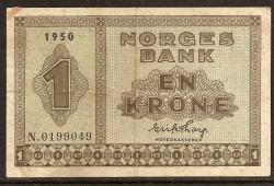 Noruega 1 Kroner Pick 15b (1950) VF