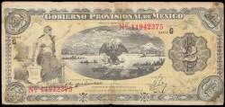 Mexico 2 Pesos Pick S1102a (5-2-1915) Gobierno Provisional aVF