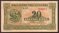 Grecia 20 Dracmas PK 315 (6-4-1.940) S/C