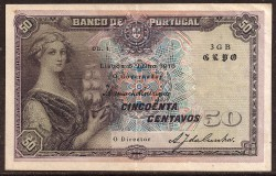 Portugal 50 Centavos Pick 112b (5-7-1918) VF