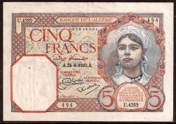 Algeria 5 Francs PK 77 (25-08-1933) VF