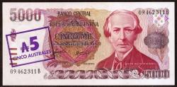 Argentina 5 Australes in 5,000 Pesos Pick 321 (1985) UNC
